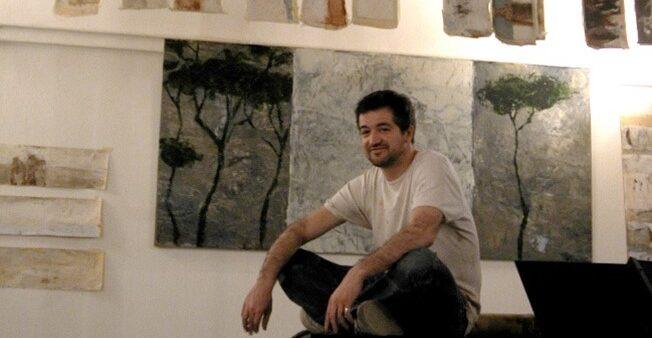 Raphaël Thierry dans son atelier à la Villa Médicis (2006)